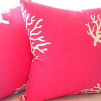Decorative Hot Pink Coral pillow cover, 18 x 18