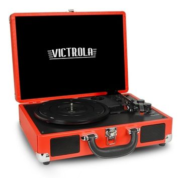 Victrola VSC-550BT 3-Speed Vintage Bluetooth Suitcase Turntable with Built-in Stereo Speakers (Red) - B