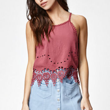 Kendall & Kylie Cutout Embroidered Goddess Neck Tank Top at PacSun.com