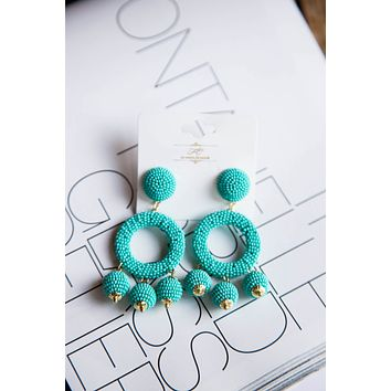 Seed Bead Circle w/Charms Earring, Turquoise