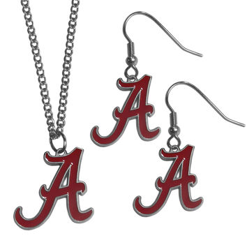 Alabama Crimson Tide Dangle Earrings and Chain Necklace Set