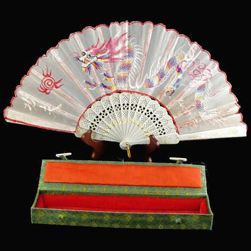 Vintage, Chinese, Embroidered Dragon, Hand Fan, with Original Green and Red Case with Pin Closures.