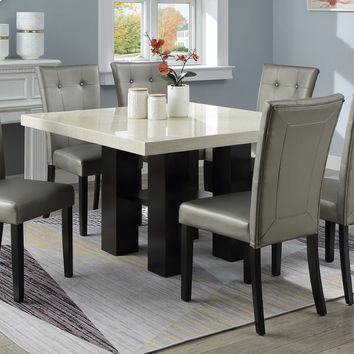 Poundex F2463-1752 7 pc Donnie black finish wood square faux marble top dining table set silver chairs
