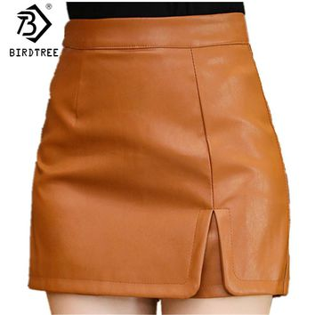 New 2018 Spring Women Fashion PU Leather Shorts Skirts Female Casual Mini Skirts Ladies Mid Waist Black Short Pants Hots B81905A