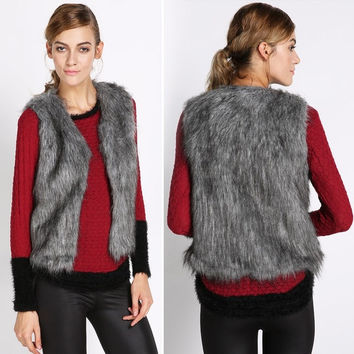 Fall Winter Women Faux Fur Vest Winter Vest Sleeveless Luxury Fur Waistcoat  SV006102