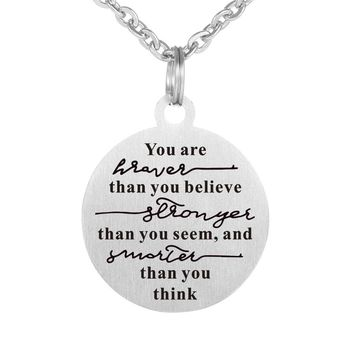 Inspiratal quote necklace