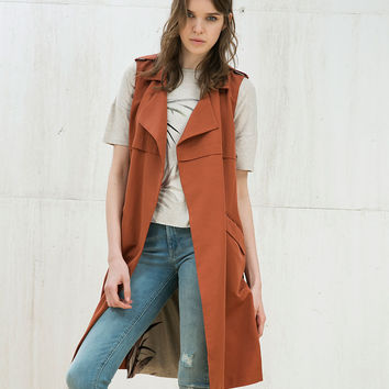 Long flowy belted vest - Woman - Bershka United Kingdom