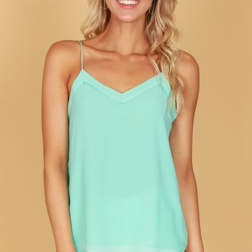 Button Back Tank Aruba Blue