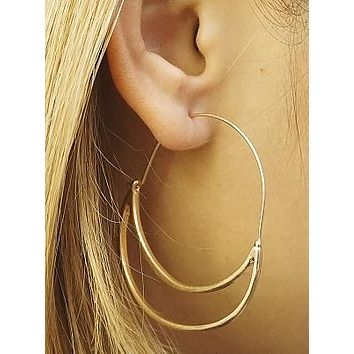 Gold Open Crescent Earrings
