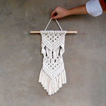 Small macrame wall hanging Boho wall tapestries Fiber art Woven wall decor Eco-friendly housewarming gift 70s home decor Makrame handicraft