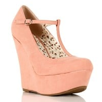 Blush Mary Jane T-Strap Wedges