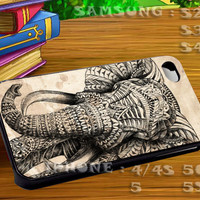 Elephant Aztec Vinetage Pattern For iphone 4 iphone 5 samsung galaxy s4 / s3 / s2 Case Or Cover Phone.
