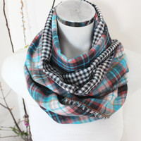Checkered scarf men, Blue red scarves, Handmade men scarf, Plaid scarf Men, Unique Christmas Gifts, Double-sided scarf, Winter scarf Unisex