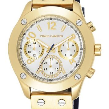 Women's Vince Camuto Multifunction Leather Strap Watch, 42mm - Navy/ Gold