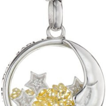 "Sterling Silver Necklace Crystal Shaker ""I Love You More Than The Moon and The Stars"" Necklace, 18"""