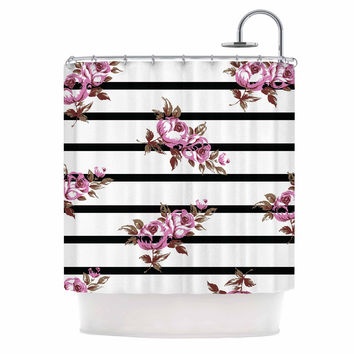 NL Designs  Purple Floral Stripes  Black White Shower CurtainShop Black Striped Shower Curtain on Wanelo. Pink And White Striped Shower Curtain. Home Design Ideas
