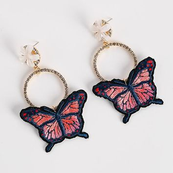 2017 Attractive Embroidery Butterfly Pendientes Mujer Moda Temperament Rhinestone Circle Flower Dangle Earrings For Women