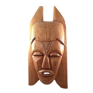 Vintage Authentic African Carved Wooden Mask Affordable Tribal Wall Hanging Decor Ghana Africa