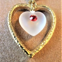 Heart Jewelry Set Necklace Earrings White Lucite Red Rhinestones JoAnne Jewels Original Box Vintage