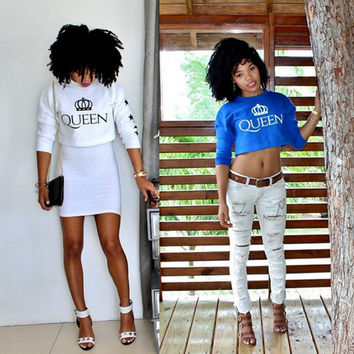 """""""Queen"""" Letter Print Long Sleeve Cropped Top"""