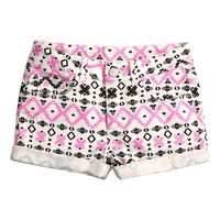 H&M - Twill Shorts - White/Patterned - Kids
