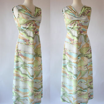 Vintage 60s Graphic Polyester Maxi Dress / Leslie Fay Original