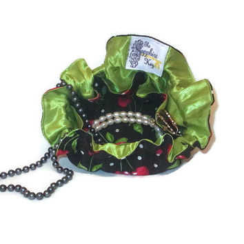 Drawstring Travel Jewelry Pouch / Satchel - Cherries with Green Satin