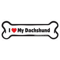 I Love My Dachshund Bone Car Magnet
