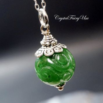 Emerald Jade Necklace, Engraved Flower Jade Totem Necklace Heart Chakra Healing