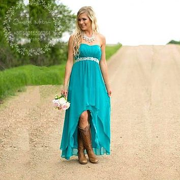 Rustic High Low Turquoise Bridesmaid Dresses 2017 Vestidos damas de honor Boho Chiffon Plus Size Country Wedding Prom Dress