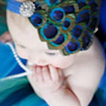 Peacock Feather Headband Baby Prop - CPHBFPK