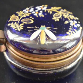 Moser Bohemian Colbalt Blue Enamel Patch Box
