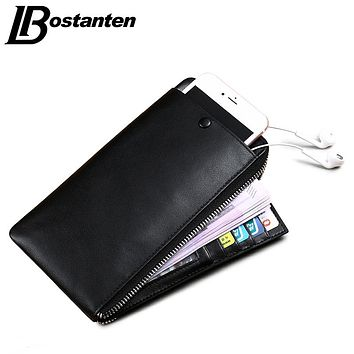 New Arrival Casual Business Purse Mens Genuine Leather Wallet Simple Designer Soft Slim Male Phone Card Holders