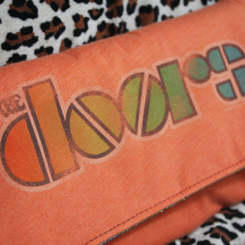 THE DOORS  Upcycled Rock Band Tshirt Clutch Bag  OOAK by evilrose