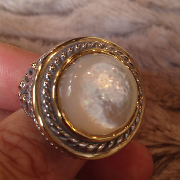 Size 9 Genuine Rainbow Mother Of Pearl Vintage Silver Brass Filigree Ring