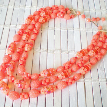 Tangerine Beaded Vintage 3 Strand Necklace 1960s