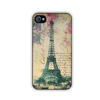 iphone 4 or iphone 4s case with Eiffel Tower and by FineArtDesigns