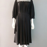 Semi Sheer Black Party Dress 3/4 Sleeve Mesh Detail Evening Dress XXL-XXXL 1980s Little Black Dress
