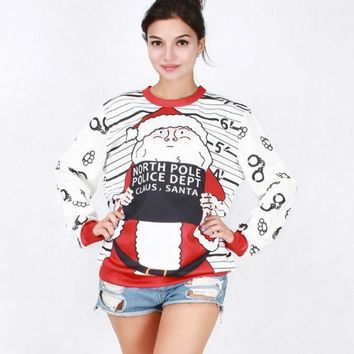 PEAPDQ7 The New Womens Christmas Santa Claus Pullovers Sweaters