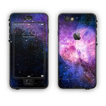 The Vibrant Purple and Blue Nebula Apple iPhone 6 LifeProof Nuud Case Skin Set
