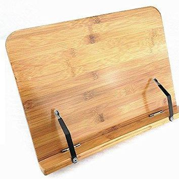 Do4U BamBoo Reading Rest Cookbook Stand Holder Foldable Tablet Cook Book Stand Bookrest with Adjustable Backing amp Elegant Pattern with Bamboo support Small Hollowed design