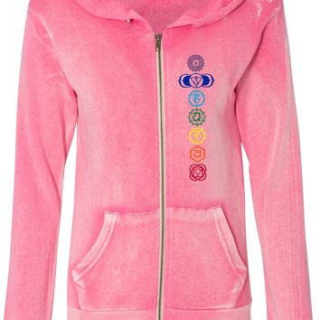 Colored Chakras Angel Fleece Full-Zip Yoga Hoodie