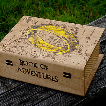 The Lord of the Rings inspired Middle Earth Map pyrography art box The Book of Adventures