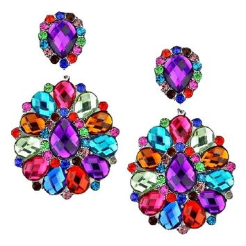 "3-1/4"" Multicolor Rhinestone Big Flower Clip-on Silver Earrings Pageant Drag Queen Wedding Bridal Evening"