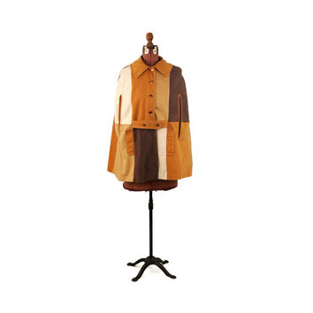 Vintage 1970's Mod Brown + Tan Colorblock Patchwork Retro Boho Hippie Cotton Cape Coat S M