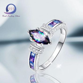 CREYIJ6 Merthus 925 Sterling Silver Rings  with 1.5 cttw Mystic Rainbow Promise Engagement Ring for Women Size 6 7 8 9