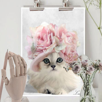 Shabby chic cat pink roses  print wall hanging  nursery illustration wall art home decoration painting animal poster french country fine art
