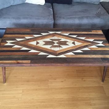RAZOR TABLE Navajo Aztec Native Boho Mid-Century Coffee Table