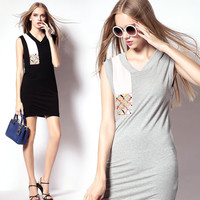 Sleeveless Knitted Dress with Rhinestones