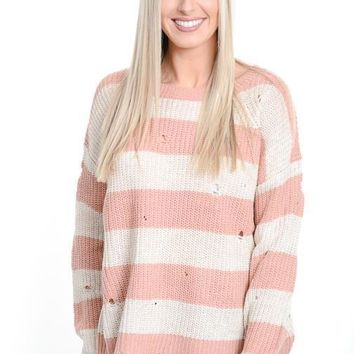 Blush Striped Distressed Sweater